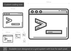 Custom coding line icon Stock Illustration