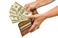 Hand Paying With Cash From Wallet Stock Photos