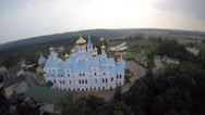 Bird's eye view of St Dukhovskoi Pochayiv Monastery Stock Footage