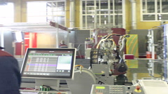Production: robot cutter cuts the sheet of glass Stock Footage