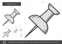 Pushpin line icon Stock Illustration
