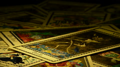 Death and devil in tarot card Stock Footage