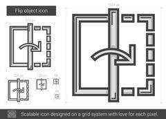 Flip object line icon Stock Illustration