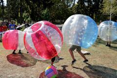 Bubble football game Stock Photos
