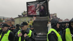 Polish women on strike! Black Protest. Police protecting pro-lifers (banners). Stock Footage