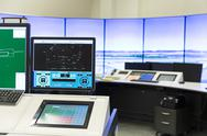 Air Traffic Services Authority control room monitors Stock Photos