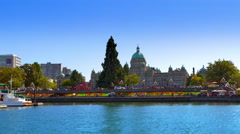 4K Victoria Canada, BC Columbia, Parliament Landmark, City Legislature, Harbor Stock Footage