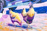 Building wall street art painting hen Stock Photos