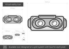 Virtual reality line icon Stock Illustration