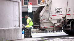 New York City trash department on collection day 4k Stock Footage