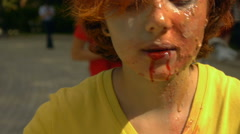 Halloween, a zombie with a bottle drinks blood, close-up Stock Footage