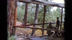 1968: people on a wooden deck overlooking a beautiful wilderness area Stock Footage