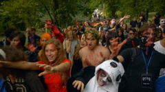 Zombie Festival, the crowd of zombies goes ahead, Halloween Stock Footage