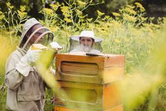 Beekeepers using bee smoker Stock Photos