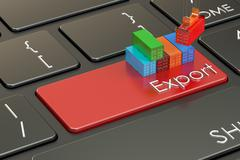 Export and freight concept on keyboard, 3D rendering Stock Illustration