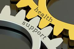 Health Support, concept on the gearwheels, 3D rendering Stock Illustration