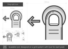 Drag left line icon Stock Illustration