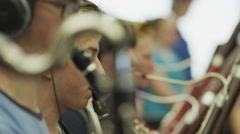 Close up of teenage boys in orchestra practice / American Fork, Utah, United Stock Footage