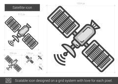 Satellite line icon Stock Illustration