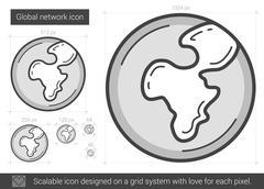 Global network line icon Stock Illustration