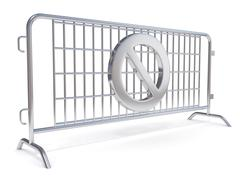 Steel barricades with NO sign. Side view Stock Illustration