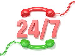 24 hours 7 days a week sign. Retro red and green phone receivers. 3D Stock Illustration