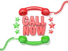 Call now sign. Retro red and green phone receivers and stars circular arrange Stock Illustration