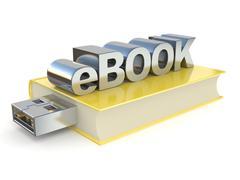 EBook with USB plug. 3D Stock Illustration