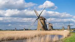 Windmills, Kinderdijk, UNESCO World Heritage Site, Netherlands, Europe - Time Stock Footage