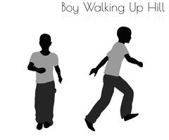 Boy in Everyday Walking Up Hilll pose on white background Stock Illustration
