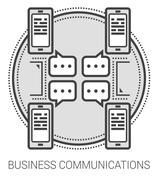 Business communications line icons Stock Illustration