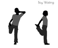 Boy in Waiting pose on white background Stock Illustration