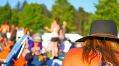 4K Woman Body Music Festival, Summer Sun Weather, Crowd Background Stock Footage