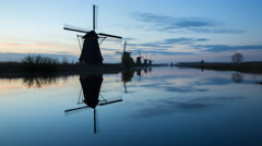 Windmills, Kinderdijk, UNESCO World Heritage Site, Netherlands, Europe - Time Stock Footage