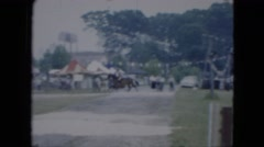 1951: horse jump rider fast professional rods over CLEVELAND, OHIO Stock Footage