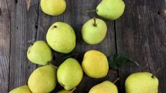 Pears on old wooden background, vertical composition Stock Footage
