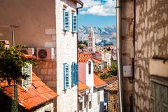 Street of Old Town Split in Dalmatia, Croatia Stock Photos