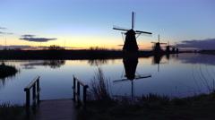 Windmills, Kinderdijk, UNESCO World Heritage Site, Netherlands, Europe Stock Footage