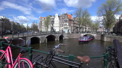Europe, Netherlands, Holland, Amsterdam, traditional Gabled houses and bridges Stock Footage