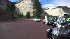 Trike Motorcycle club, Zion National Park, three wheeler Stock Footage
