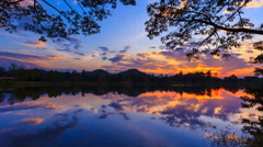 Beautiful Sunset And Reflection 4K Time Lapse (zoom out) Stock Footage