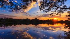 Beautiful Sunset And Reflection 4K Time Lapse Stock Footage