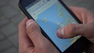 Google Maps On Mobile Sell Phone - Man looking searching New York Stock Footage