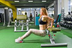 Fitness, sport, exercising lifestyle - Fit woman doing triceps dips at gym Stock Photos