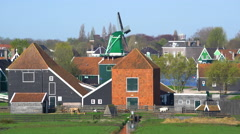 Windmills at Zaanse Schans near Zaandam, Amdsterdam, Holland Stock Footage