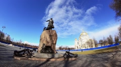 Monument to Admiral Ushakov. Kronstadt Naval Cathedral in sunny autumn day Stock Footage