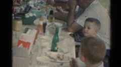 1964: a family reunion and a big supper outdoors CALIFORNIA Stock Footage