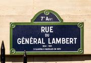 Rue du General Lambert - old street sign in Paris Stock Photos