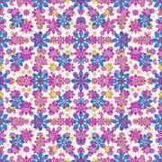 Stylized Floral Ornate Seamlees Mosaic Patterm Stock Illustration