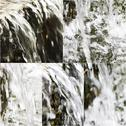 Images of small artifitial waterfall. Collage of falling water in park fountain Stock Photos